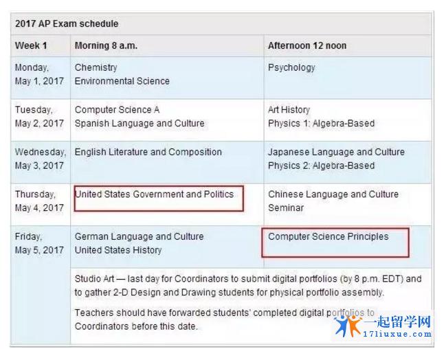 2017美国AP考试时间变动1