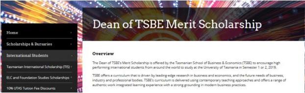 塔斯马尼亚大学商学院竟然也有奖学金和住宿助学金啦